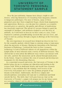 university of toronto personal statement sample