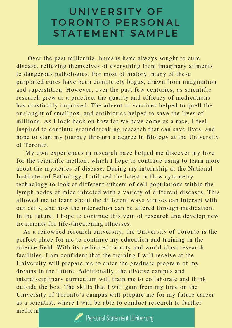 Personal statement for graduate school