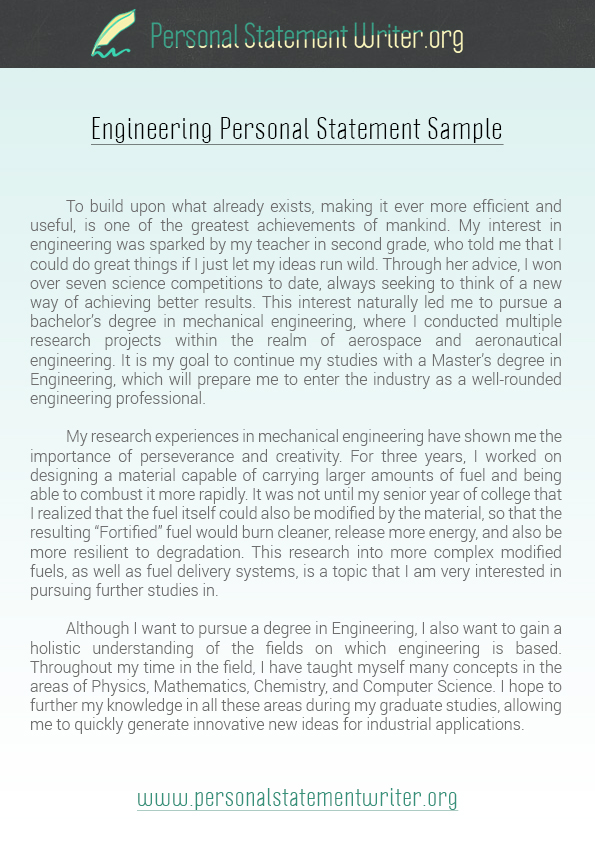 Job Application Personal Statement Examples