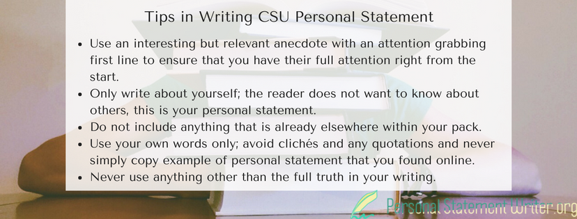tips in writing csu personal statement