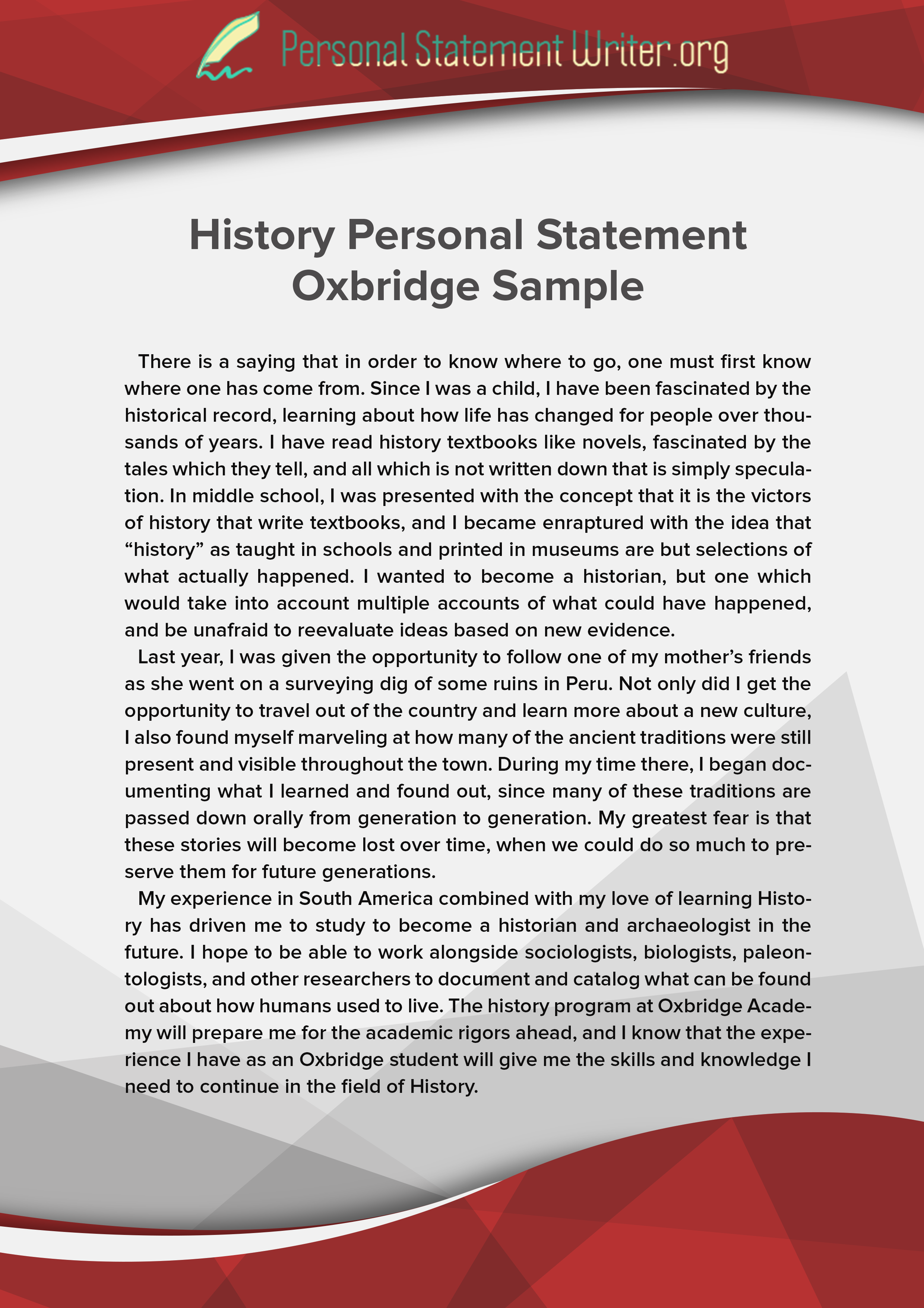 history personal statement oxbridge sample