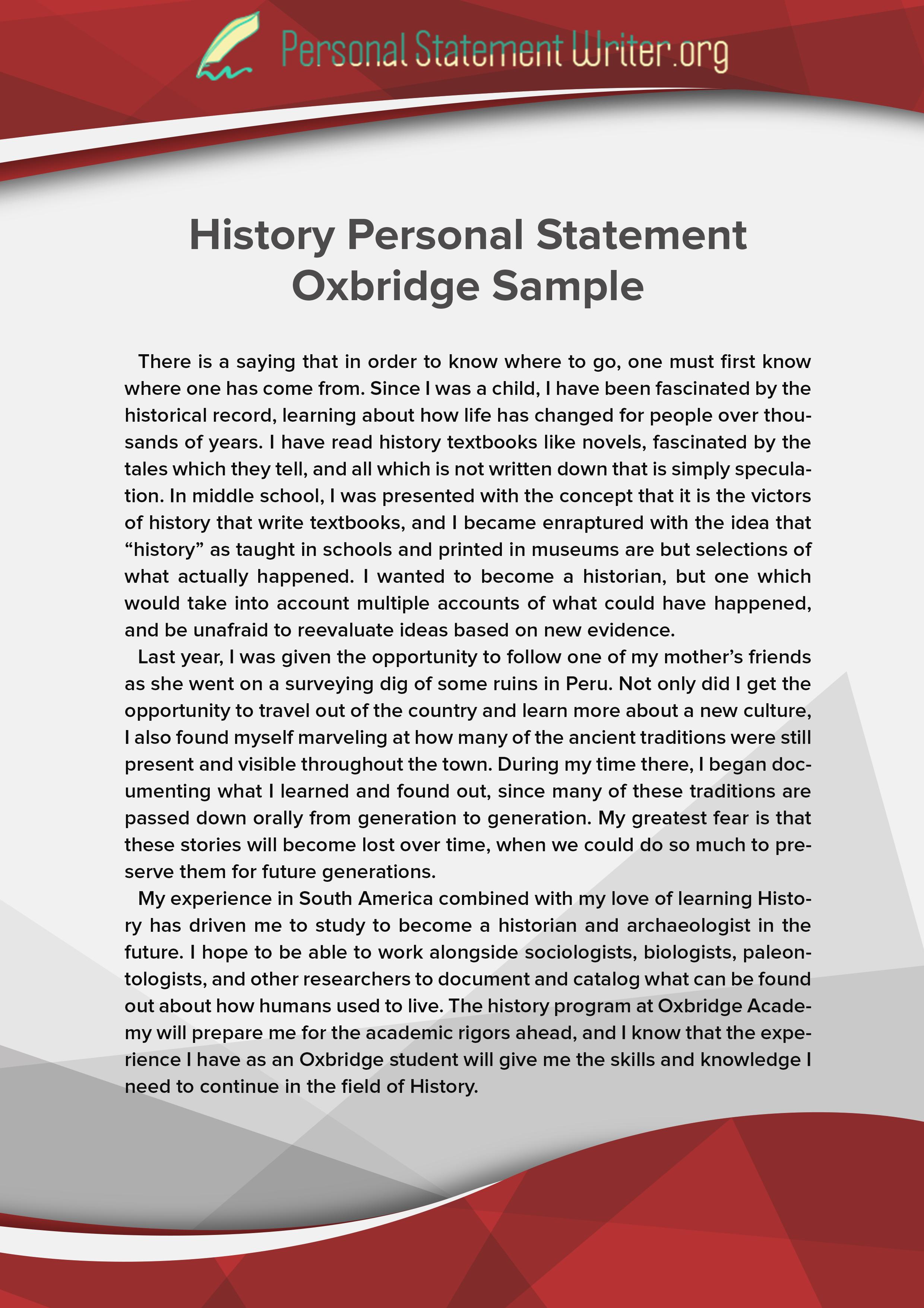 history personal statement oxbridge sample
