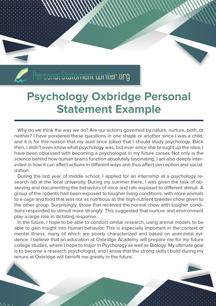 psychology oxbridge personal statement example