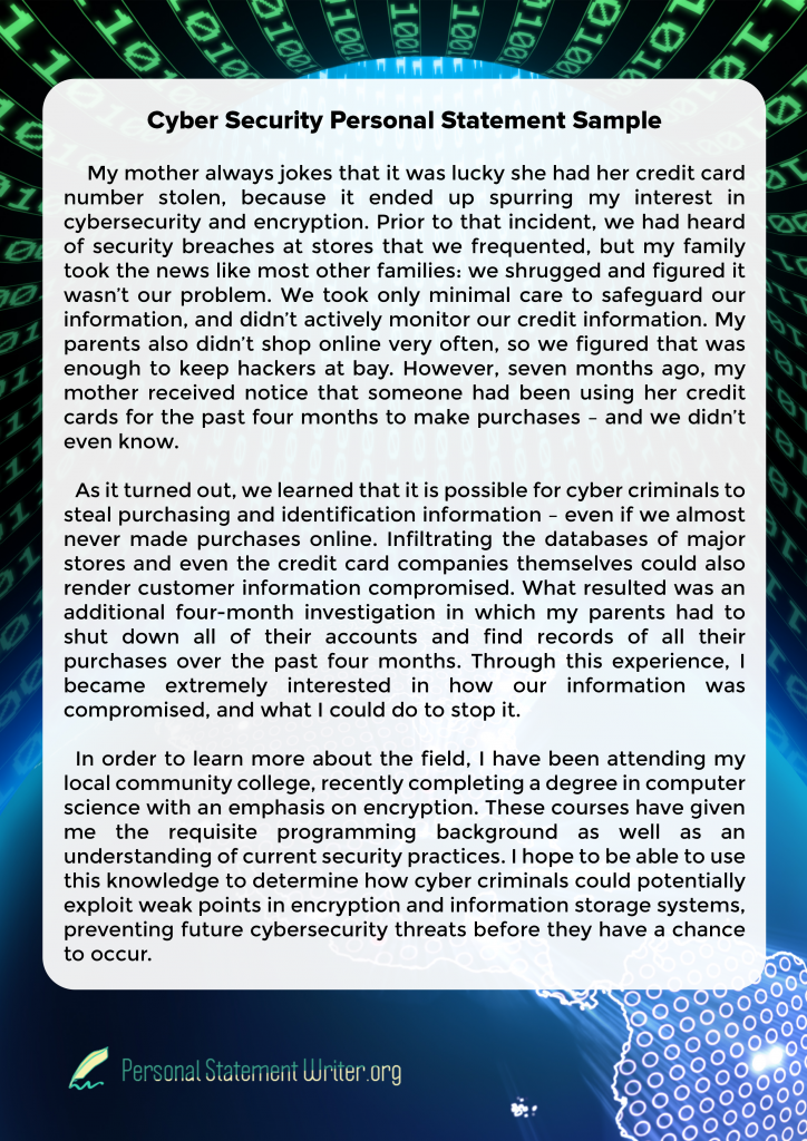 Cyber Security Personal Statement Sample