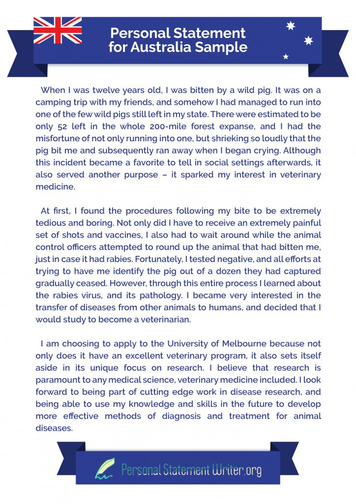 personal statement for australia