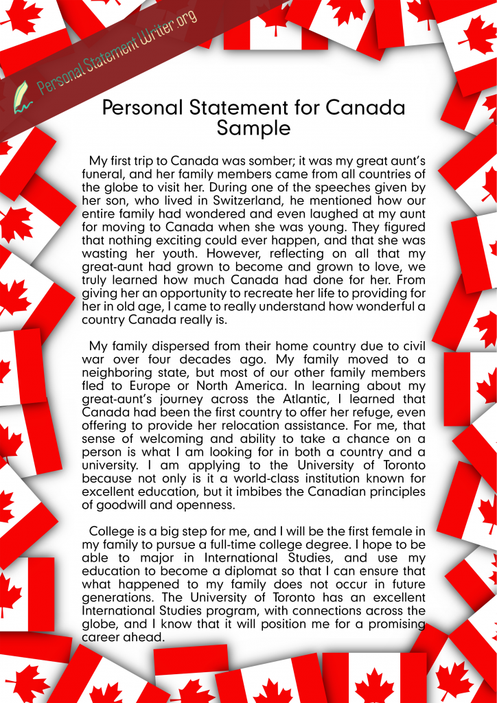 Personal Statement for Canada
