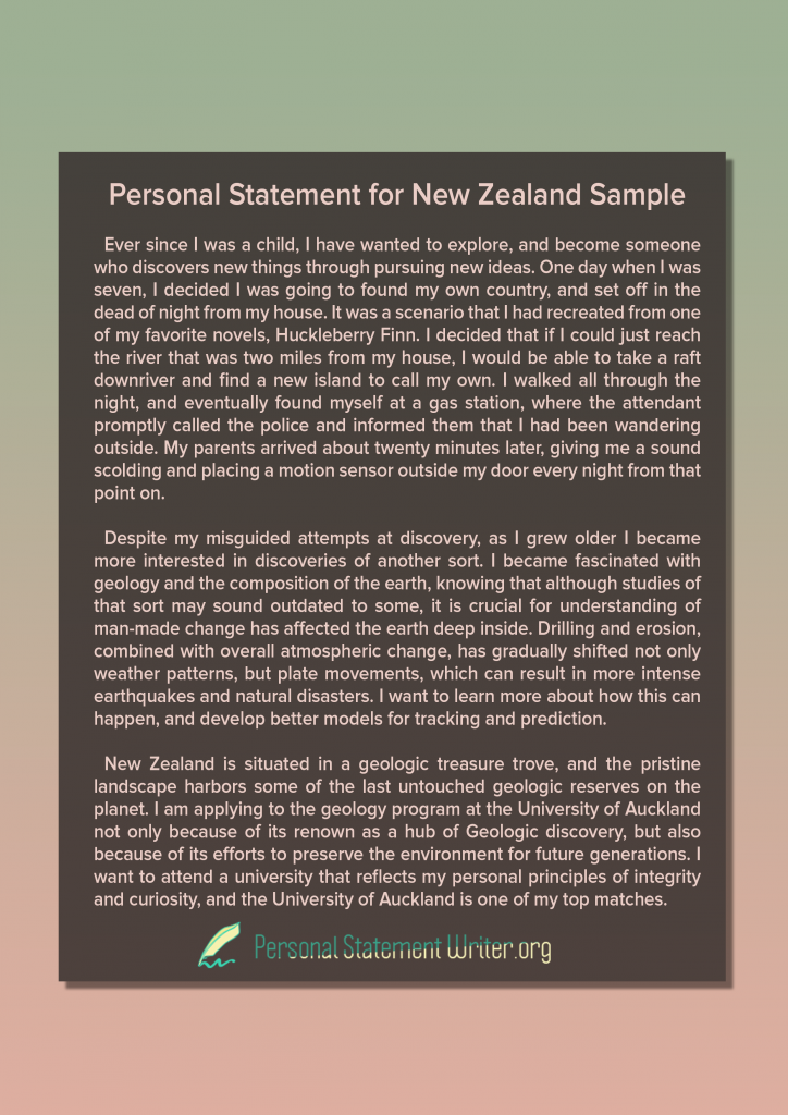 personal statement for new zealand