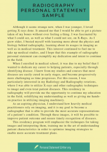 example of radiography personal statement