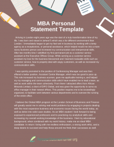 mba personal statement template