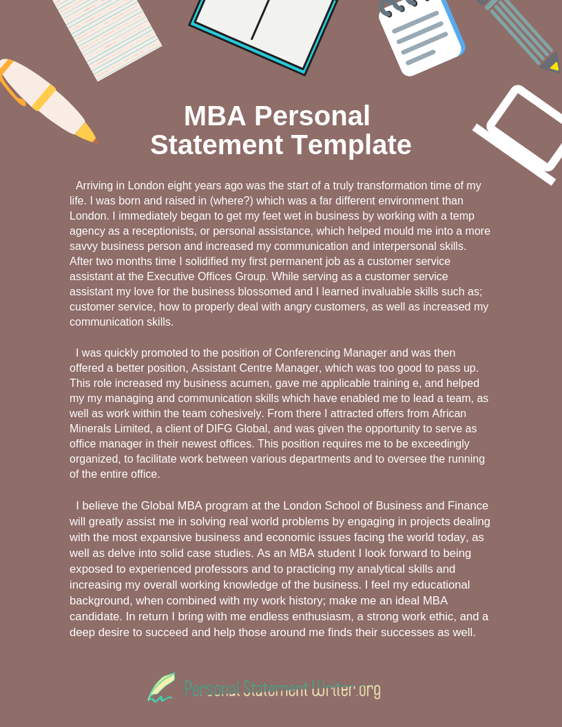 Outstanding MBA Personal Statement Example